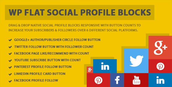 WP Flat Social Profile Sharing Blocks is a set of responsive native follow/subscribe/recommend buttons which can be added to any WordPress site. This plugin has