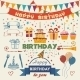 Set of Birthday Party Flat Design Elements - GraphicRiver Item for Sale