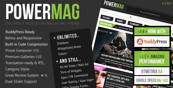 PowerMag: The Most Muscular Magazine/Reviews Theme - BuddyPress WordPress