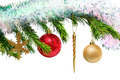 christmas toys on fir tree twig over white - PhotoDune Item for Sale