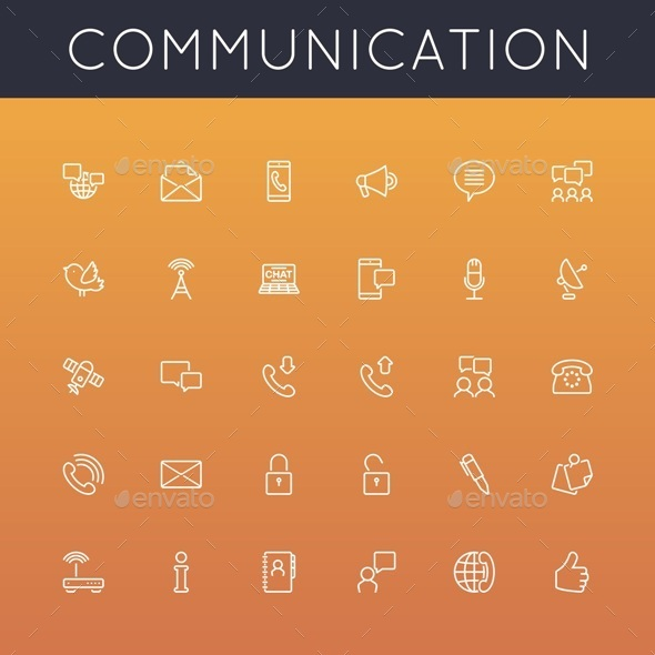 GraphicRiver Communication Line Icons 9118785
