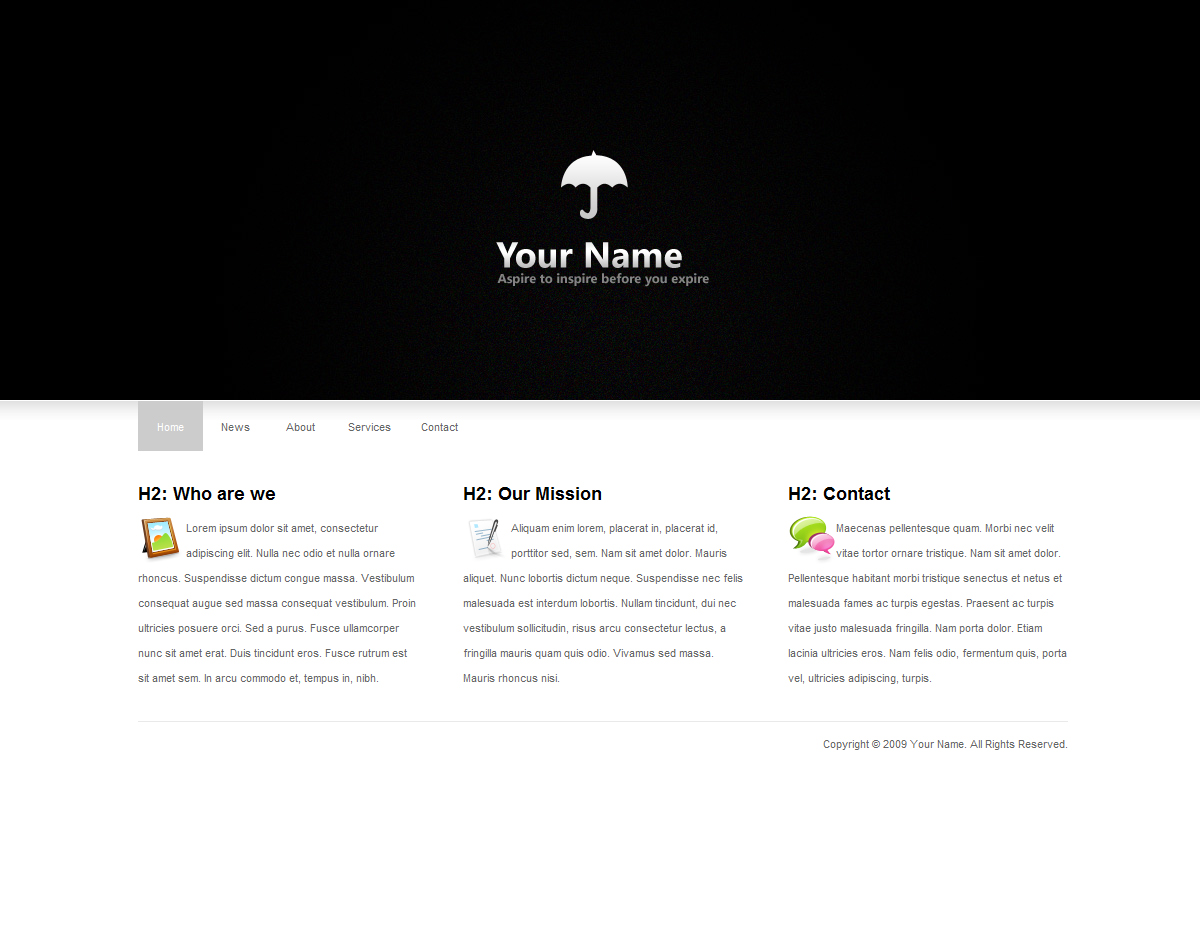 Clean and minimal HTML Template - Default Homepage