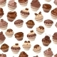 Seamless Pattern with Chocolate Cupcakes - GraphicRiver Item for Sale