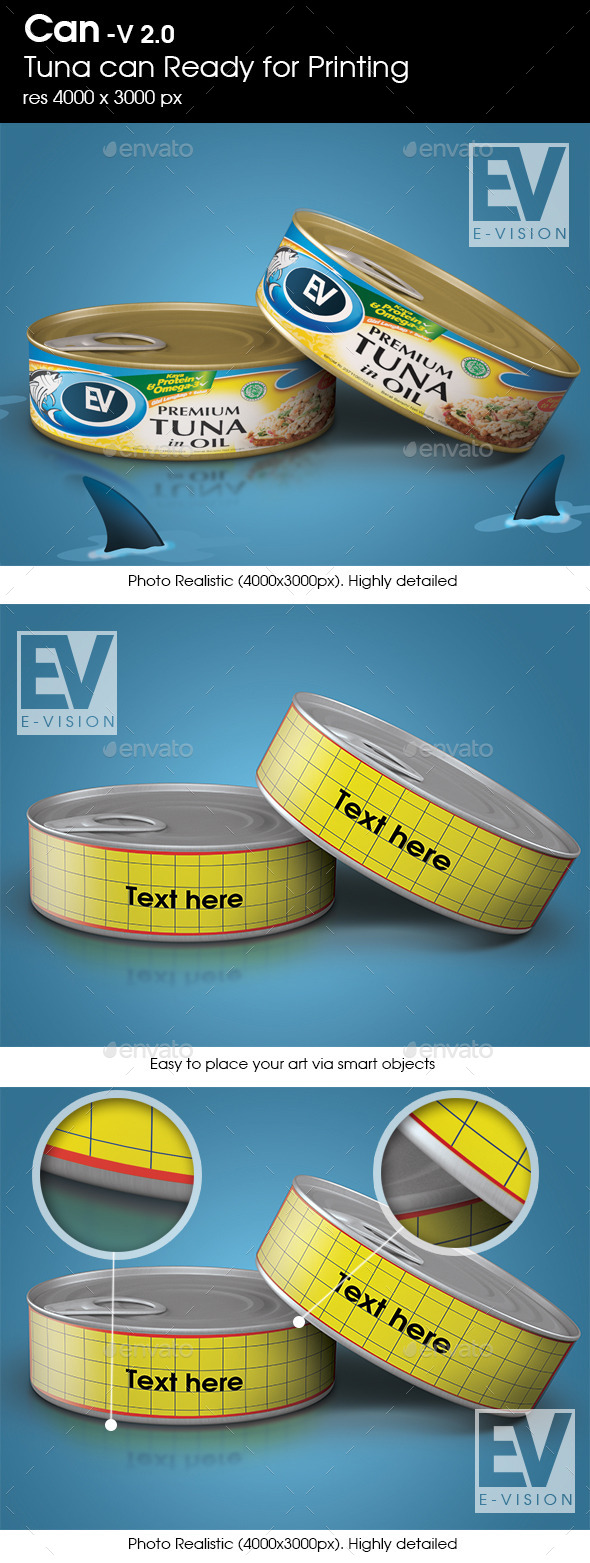 GraphicRiver Canned Tuna V 2.0 Mockup for Printing 9101858