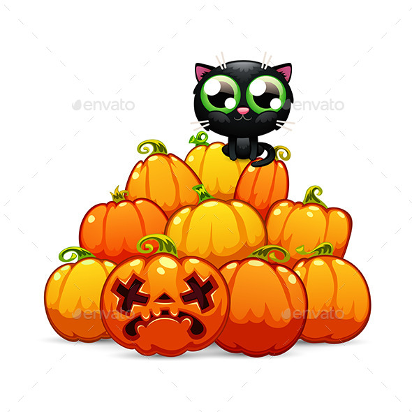GraphicRiver Heap of Halloween Pumpkins with a Black Cat 9109453