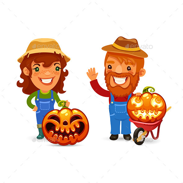 GraphicRiver Farmers with Halloween Pumpkins 9109456