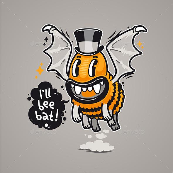 GraphicRiver Cartoon Monster I ll Bee Bat 9109623
