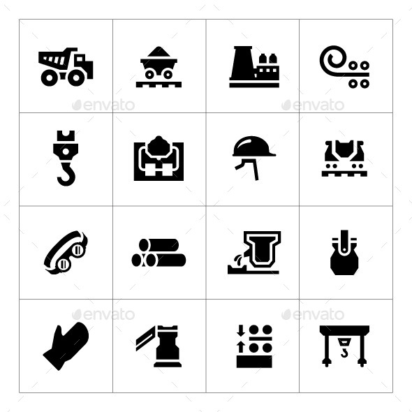 GraphicRiver Set Icons of Metallurgy 9120730