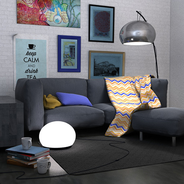 3DOcean Living room scene set 9121156
