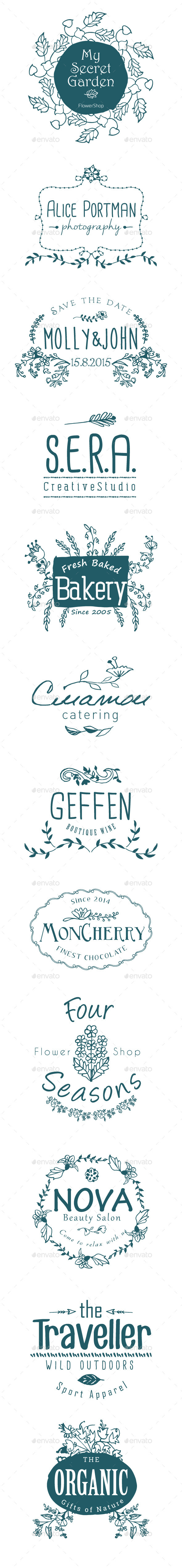 GraphicRiver 12 Hand Drawn Floral Labels 9121283
