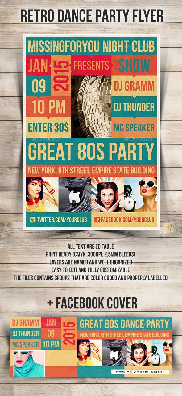 GraphicRiver Retro Dance Party Flyer 9121285