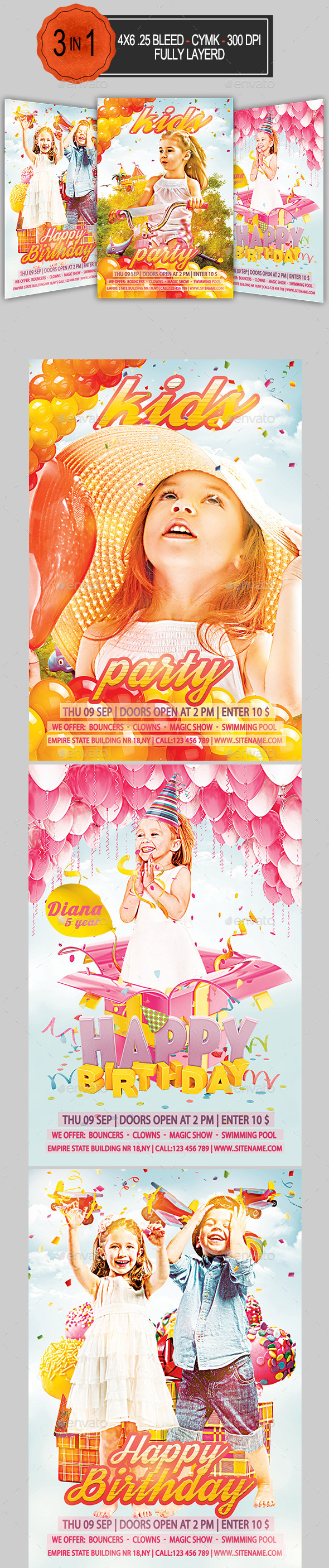 GraphicRiver 3 in 1 Kids Party Flyer Bundle 9121396