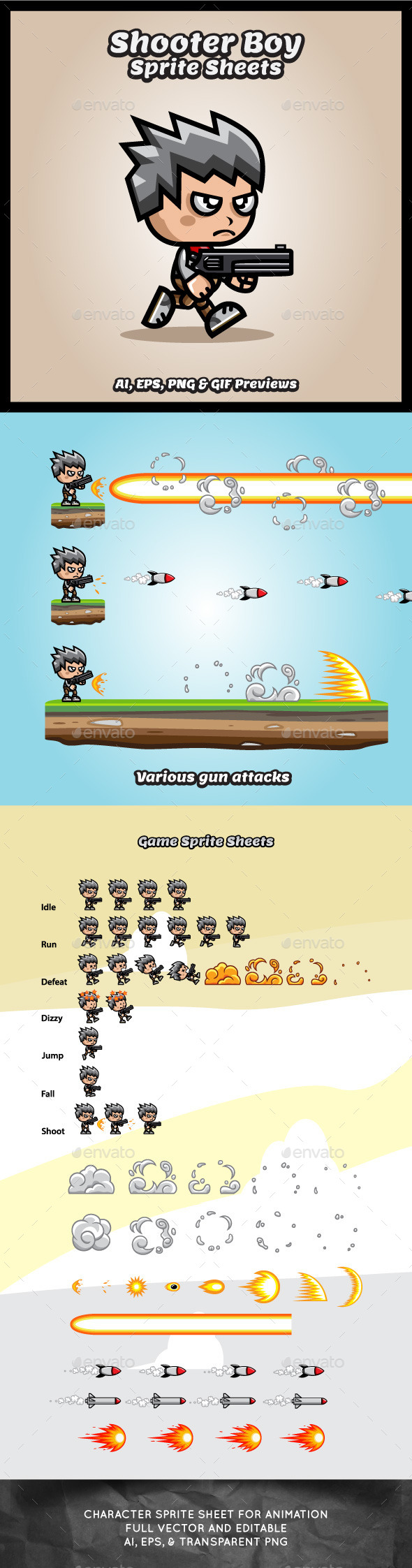 GraphicRiver Shooter Boy Game Character Sprite Sheets 9121988