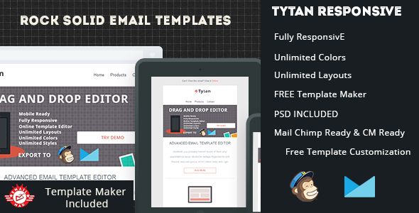 Tytan-Responsive Email Template with Editor - Newsletters Email Templates