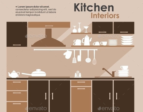 GraphicRiver Kitchen Interior Flat Infographic 9122373