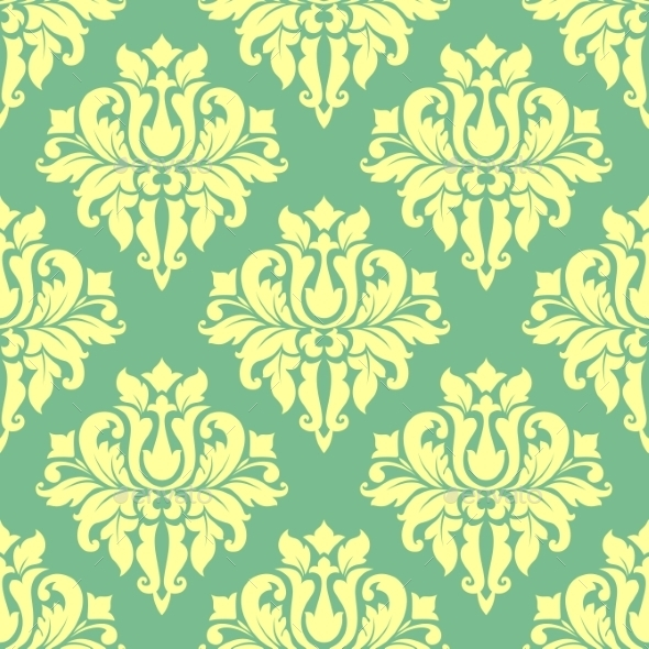 GraphicRiver Floral Yellow Damask Seamless Pattern 9122376
