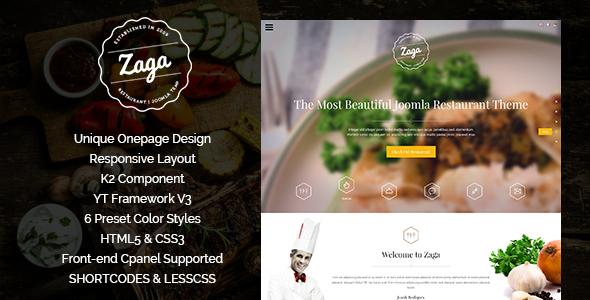 ThemeForest Zaga Responsive Onepage Restaurant Template 9123059