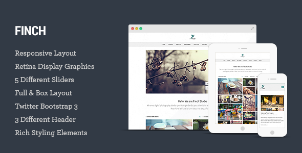ThemeForest Finch Photography & Magazine HTML5 Template 9123067