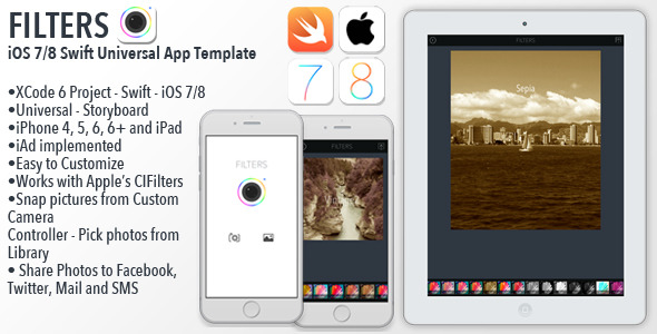 CodeCanyon FILTERS iOS8 Swift Photo Filtering App Template 9123293
