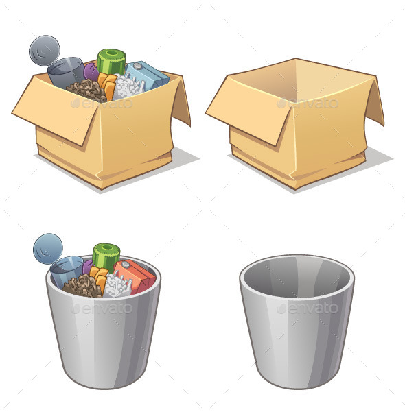 GraphicRiver Box and Bin with Garbage 9123388