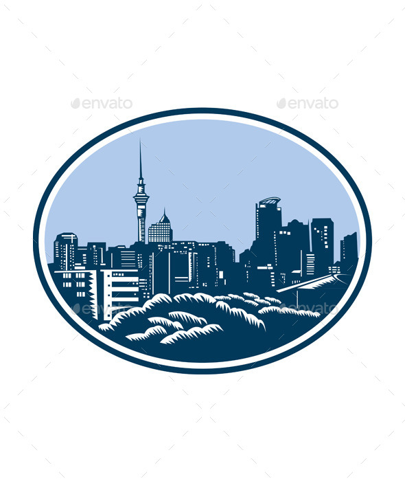 GraphicRiver Auckland City Skyline Woodcut Retro 9123392