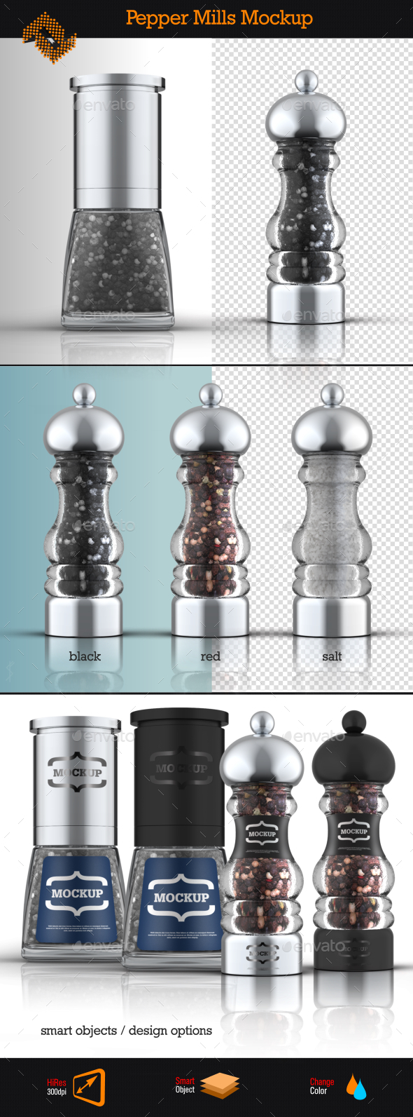 GraphicRiver Salt & Pepper Mills Mockup 9123910