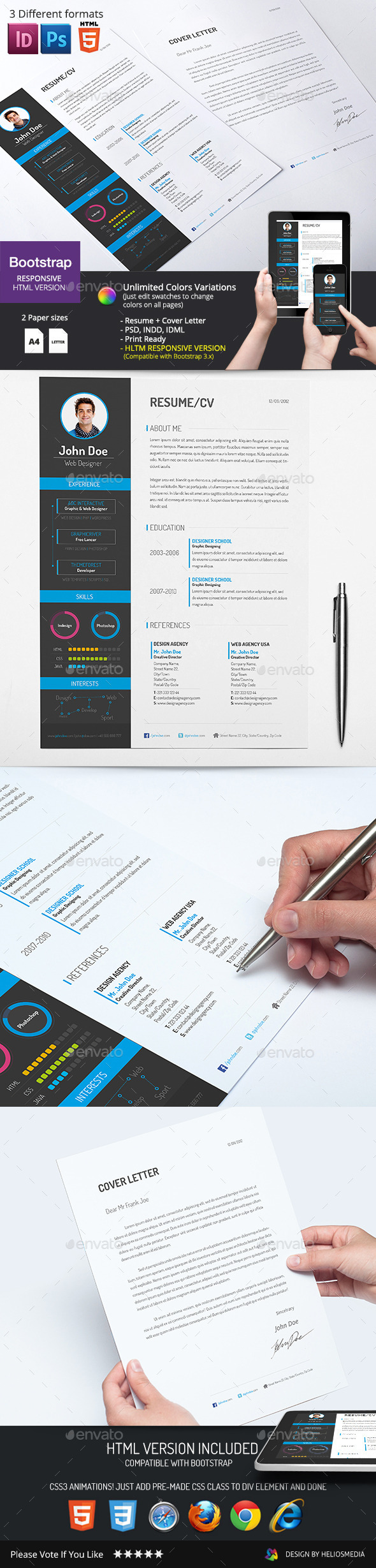 GraphicRiver 2-Piece Resume CV with HTML Version 9105031