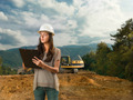 female inspector analizing construction - PhotoDune Item for Sale