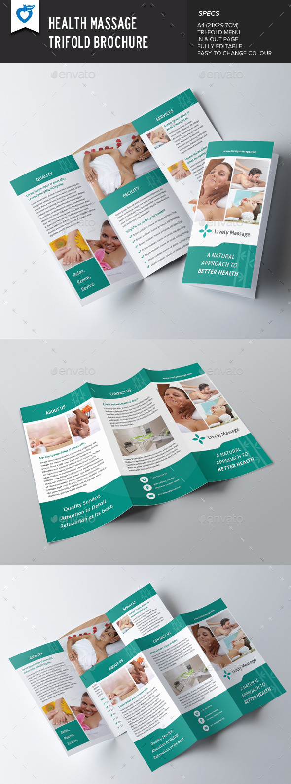 GraphicRiver Health Massage Trifold Brochure 9124689