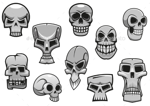 GraphicRiver Cartoon Human Scary Halloween Skulls 9125524