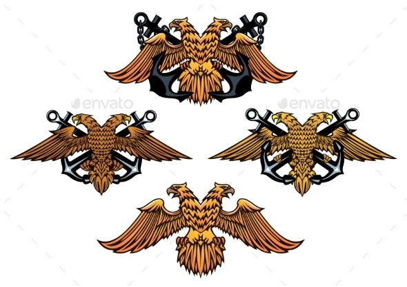 GraphicRiver Double Headed Imperial Nautical Eagle Icons 9125602