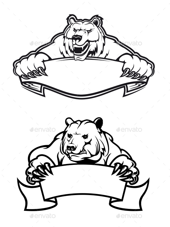 GraphicRiver Angry Bears Mascots with Banners 9125761