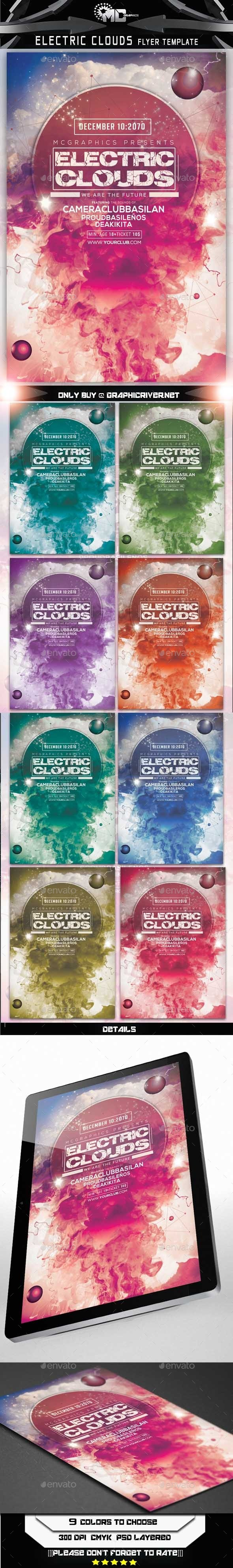 GraphicRiver Electric Clouds Flyer Template 9126640