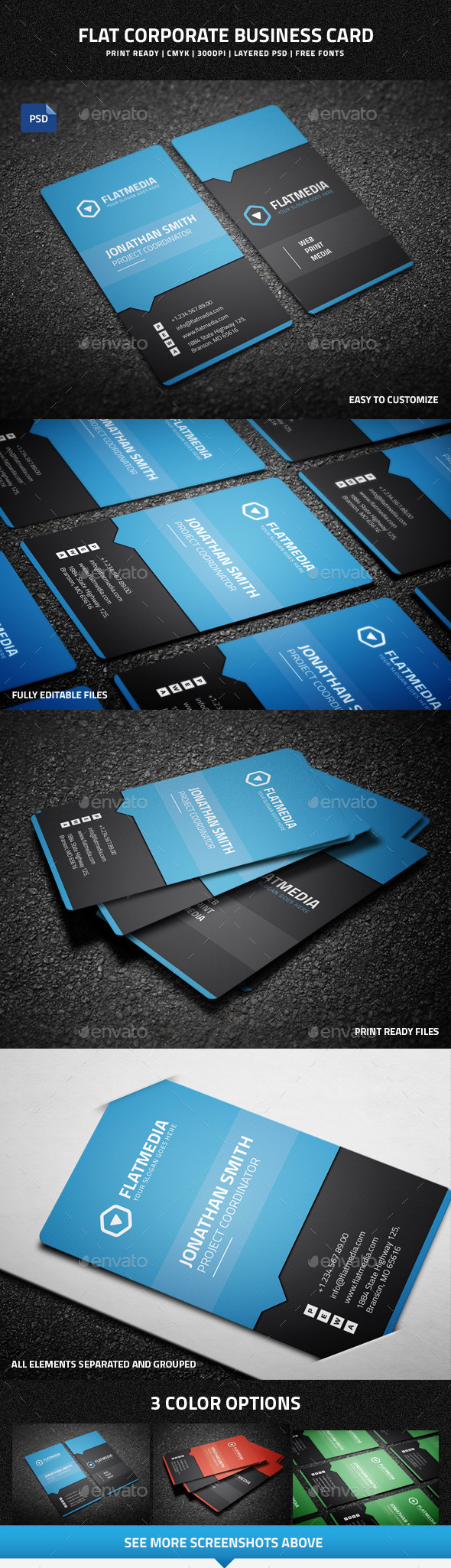 GraphicRiver Flat Corporate Business Card 9126641
