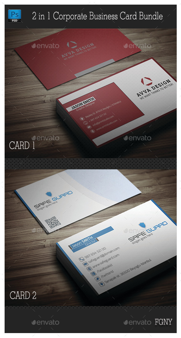 GraphicRiver 2in1 Corporate Business Card Bundle 9105417
