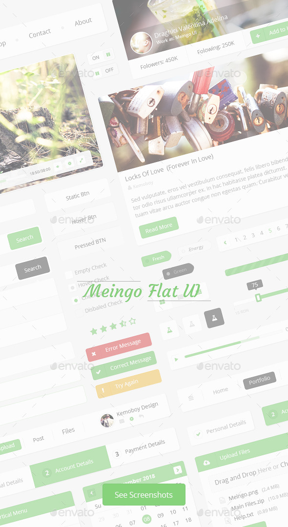 GraphicRiver Meingo-Fresh Flat User Interface 9106736