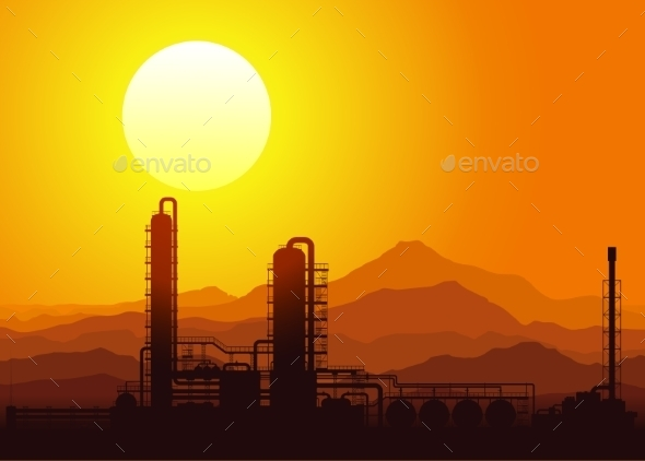 Oil Refinery at Sunset Vector Illustration