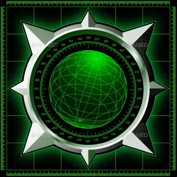 GraphicRiver Radar Screen with Steel Compass Rose 9127155