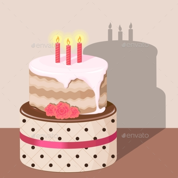GraphicRiver Birthday Cake with Strawberry Cream Isolated 9127440