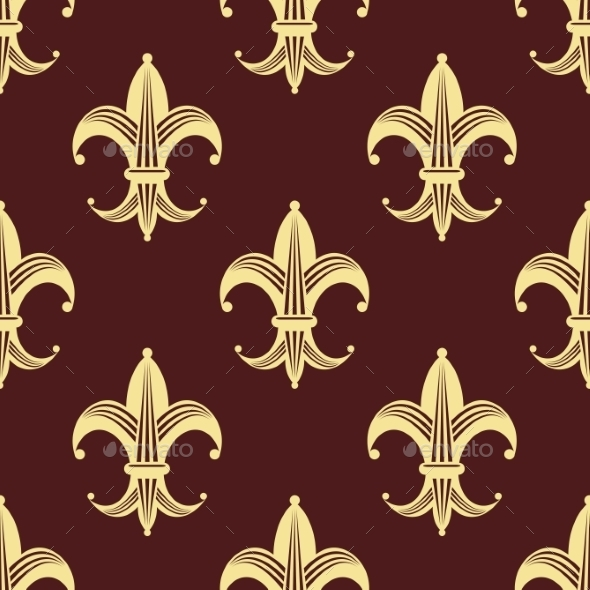 GraphicRiver Seamless Background Pattern of Yellow Fleur de Lys 9128193