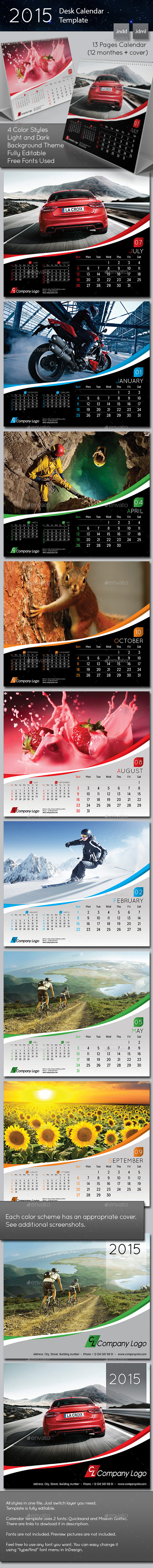 2015 Desk Calendar template - Calendars Stationery
