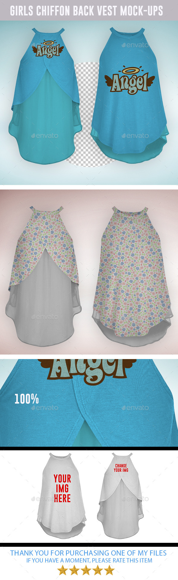 GraphicRiver Girls Chiffon Back Cami Vest Mock-ups 9128201