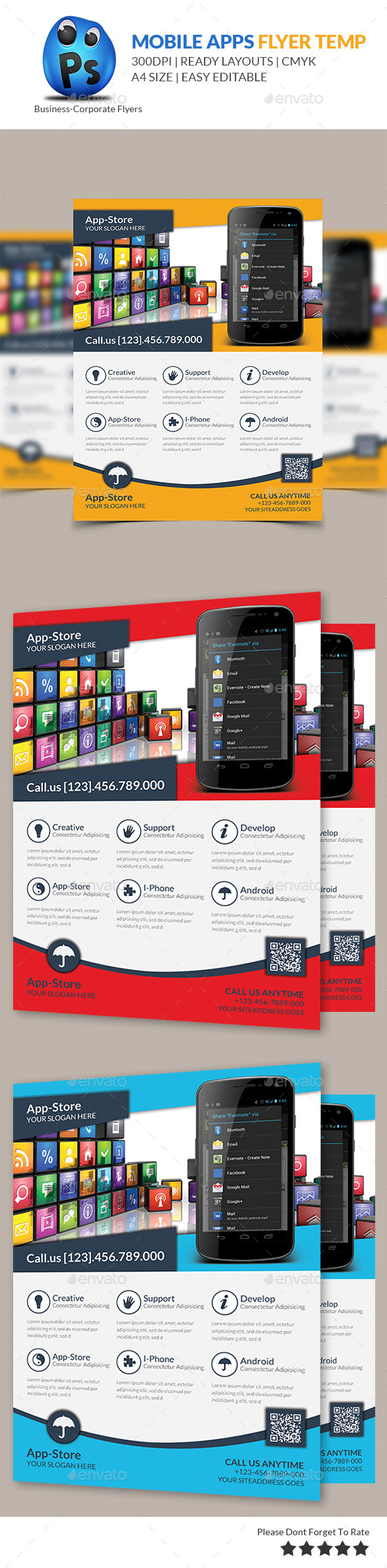 GraphicRiver Mobile App Flyer Print Template 9128254