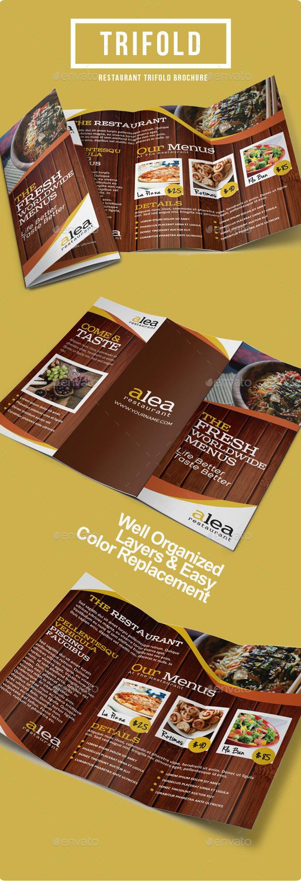 GraphicRiver Alea Restaurant Trifold Brochure 9128819