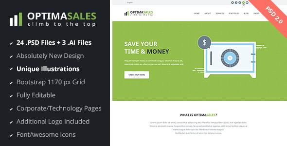 OptimaSales Business & Technology Template v2.0 - Technology PSD Templates
