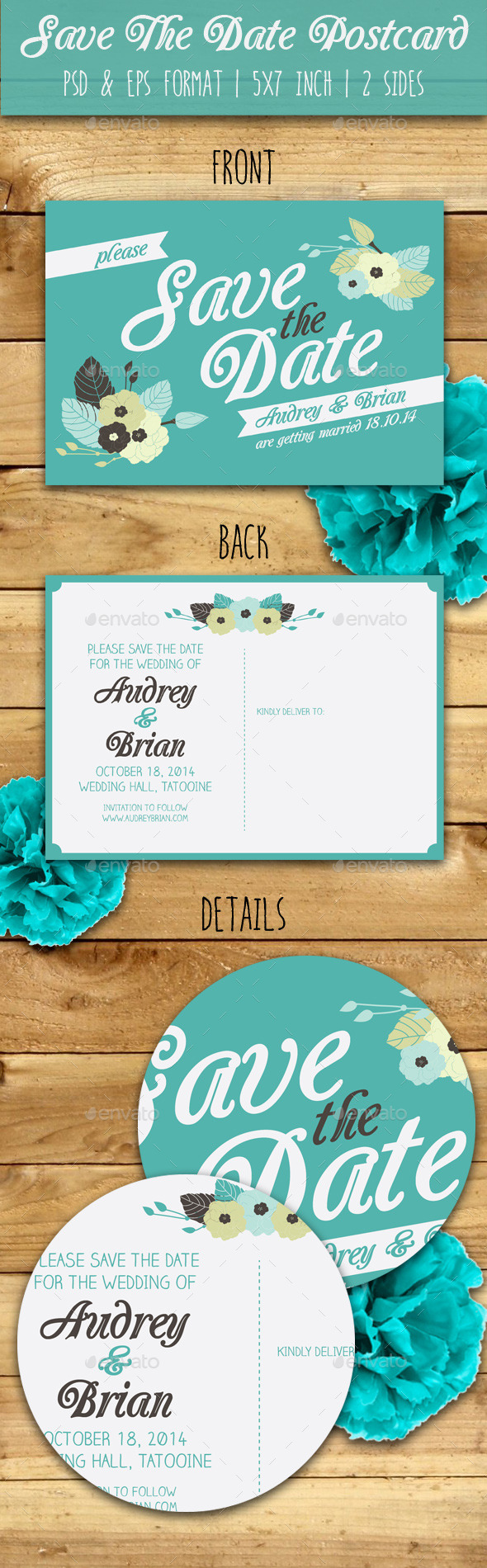 GraphicRiver Save The Date Postcard 9129848