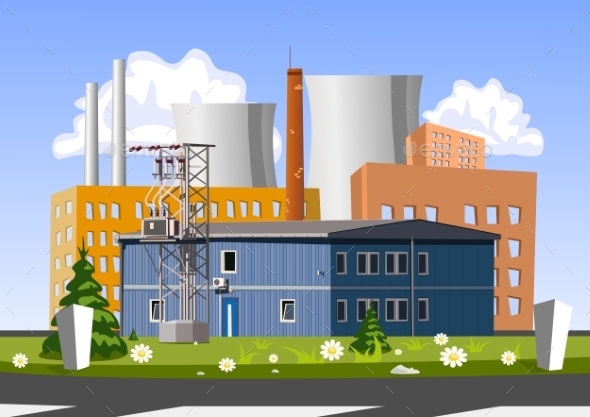 Electrical Generating Plant Vector Illustration