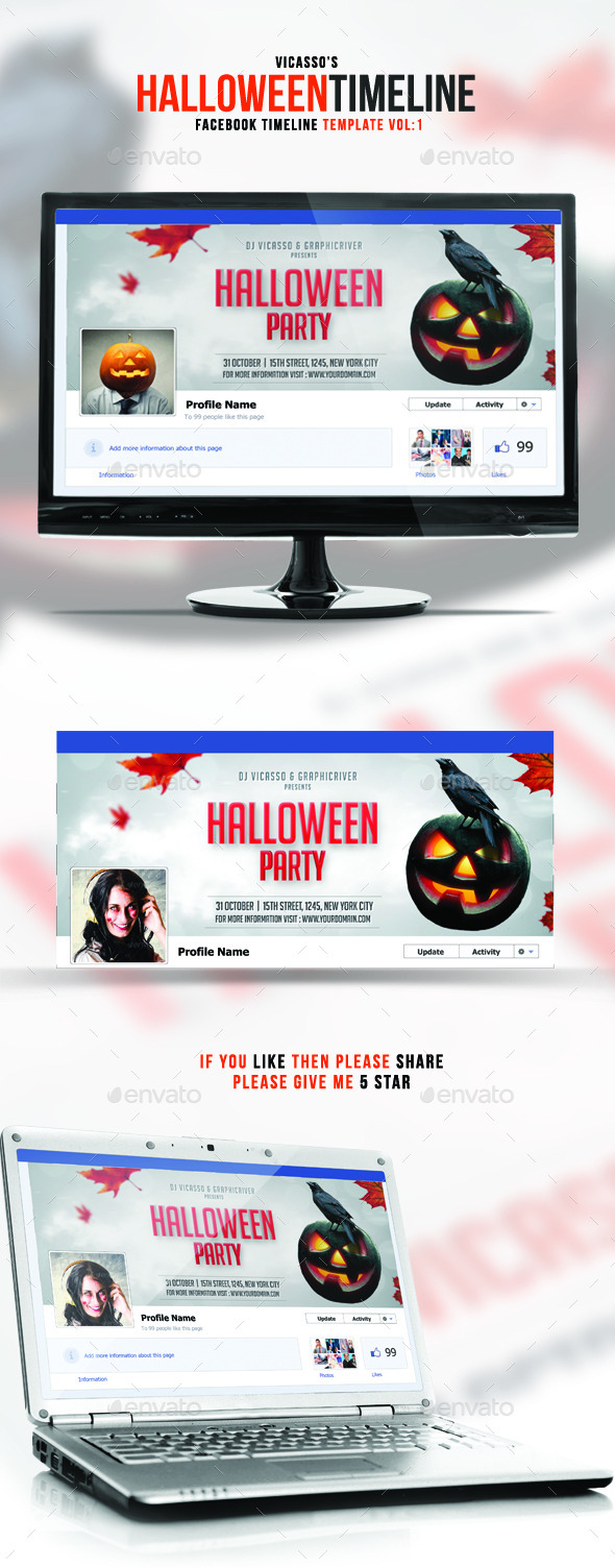 GraphicRiver Facebook Halloween Vol 1 9109969