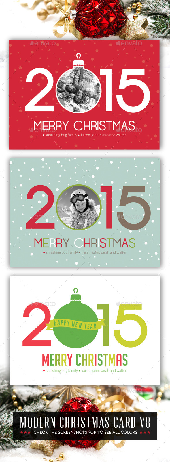 Modern Christmas Card V8 - Holiday Greeting Cards