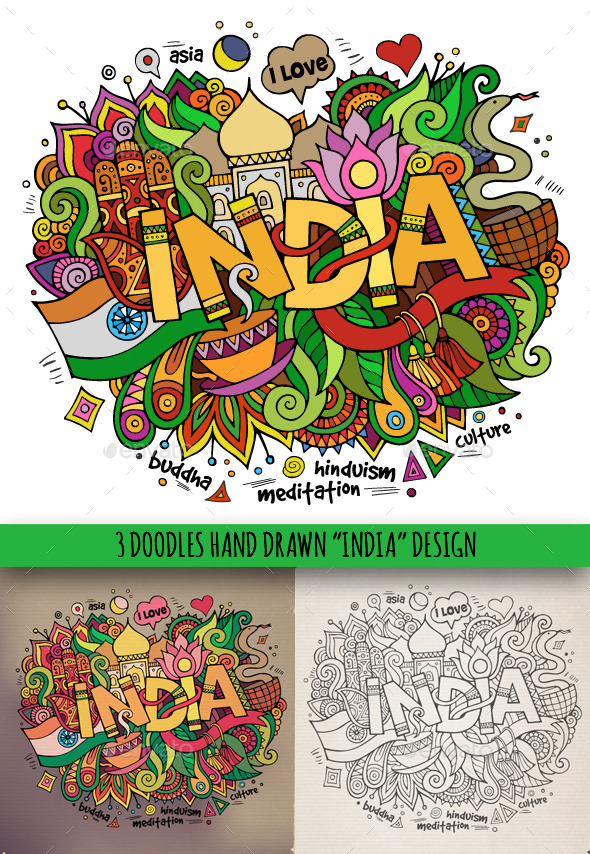 GraphicRiver 3 India Doodles 9130720